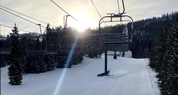 White Pine Ski Resort - Sunrise on Chairlift