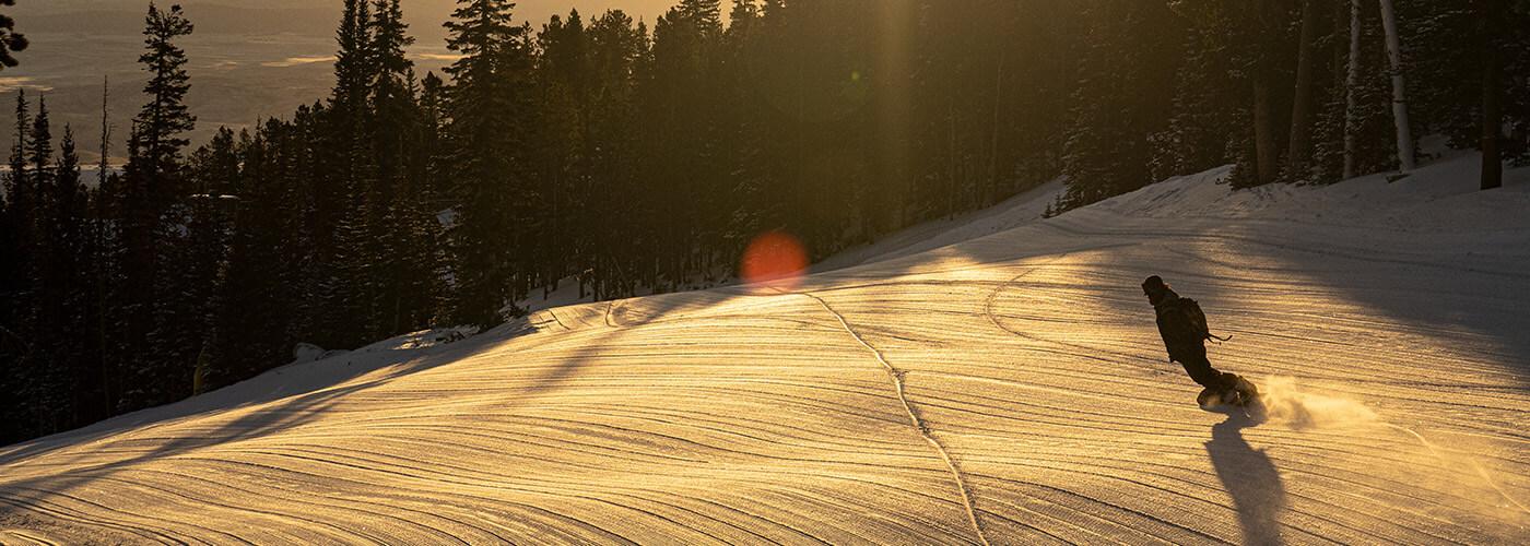 Red Lodge, Montana - sunrise first groomer run